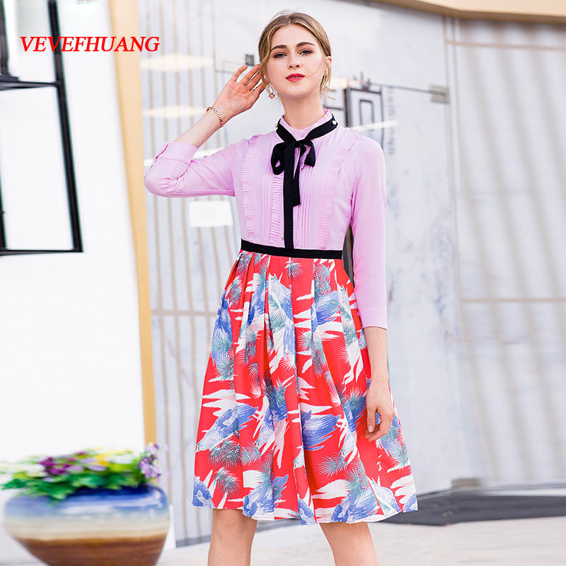 Red Midi Impression Automne Cou Stand 3 Manches De Bureau 4 Rose Mode Robe Vevefhuang Casual Patchwork Madame New Robes Doux HwdzdTWq