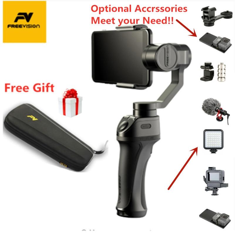 Freevision vilta-m/vilta m pro estabilizador de 3 eixos handheld do smartphone cardan para o telefone móvel iphone xr xs max gopro hero 5 4 3