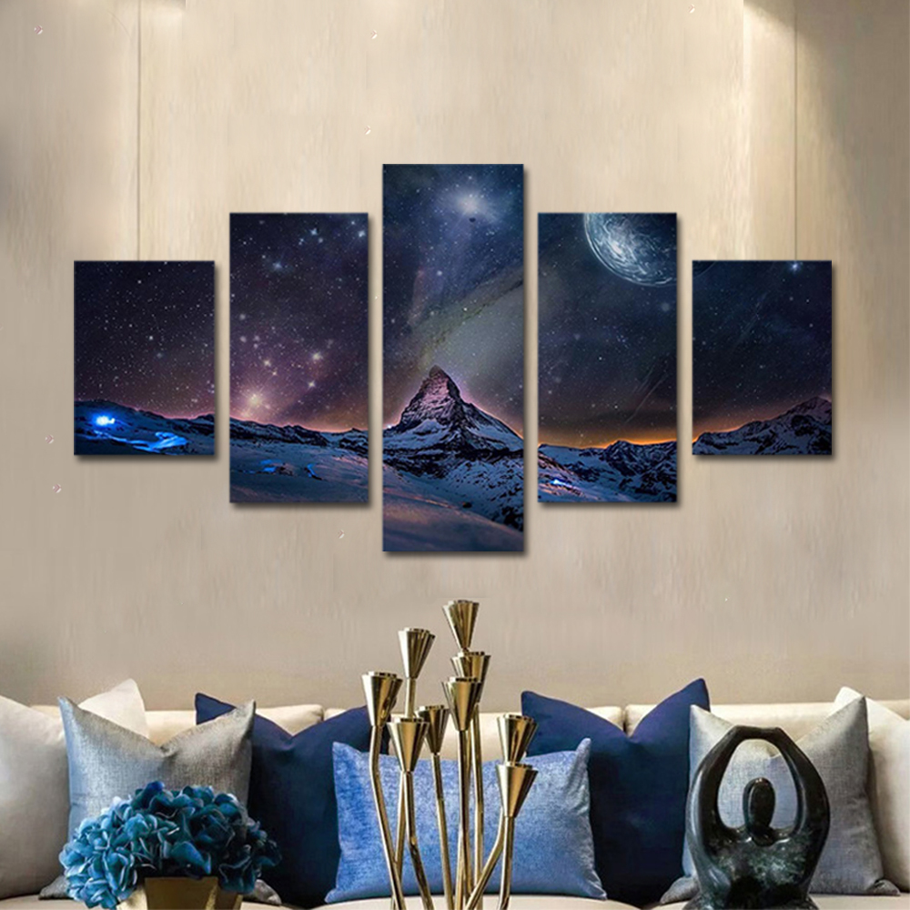 Unframed Canvas Painting Universe Star Moon Snow Mountain Photo Prints Wall Pictures For Living Room Wall Art Decoration