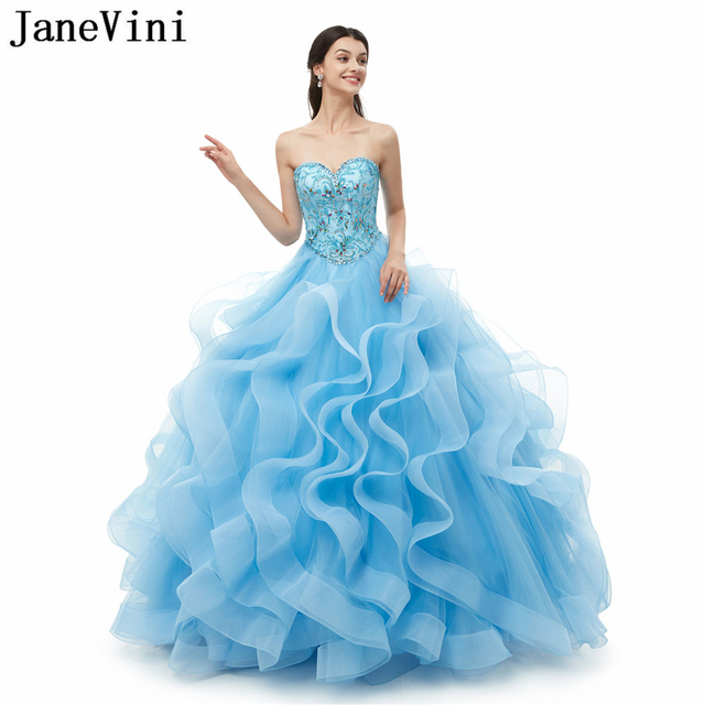 e9e883278ef JaneVini Elegant Ball Gown Quinceanera Dresses Sweetheart Princess Puffy Tulle  Beaded Girls Pageant Party Gowns Vestidos 15 2019
