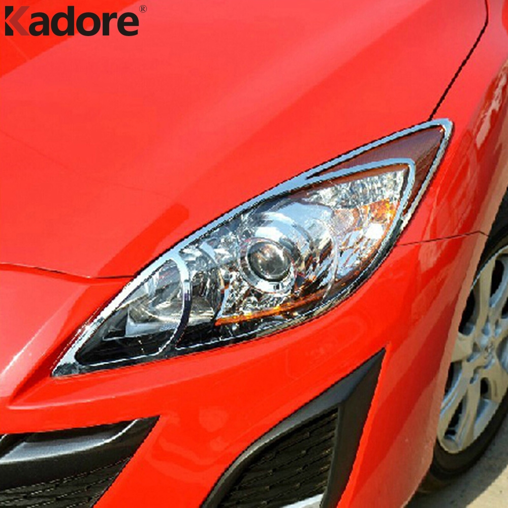 For Mazda 3 M3 2010 2011 2012 ABS Chrome Front Headlight Lamp Cover Trim Head Lights Hood Moulding Exterior Car Stickers цена