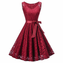 Fashion Womens Dresses Vintage Sleeveless V Neck Lace Floral Hollow Out Ladies Women Party Dress Casual High Quality Hot Sale