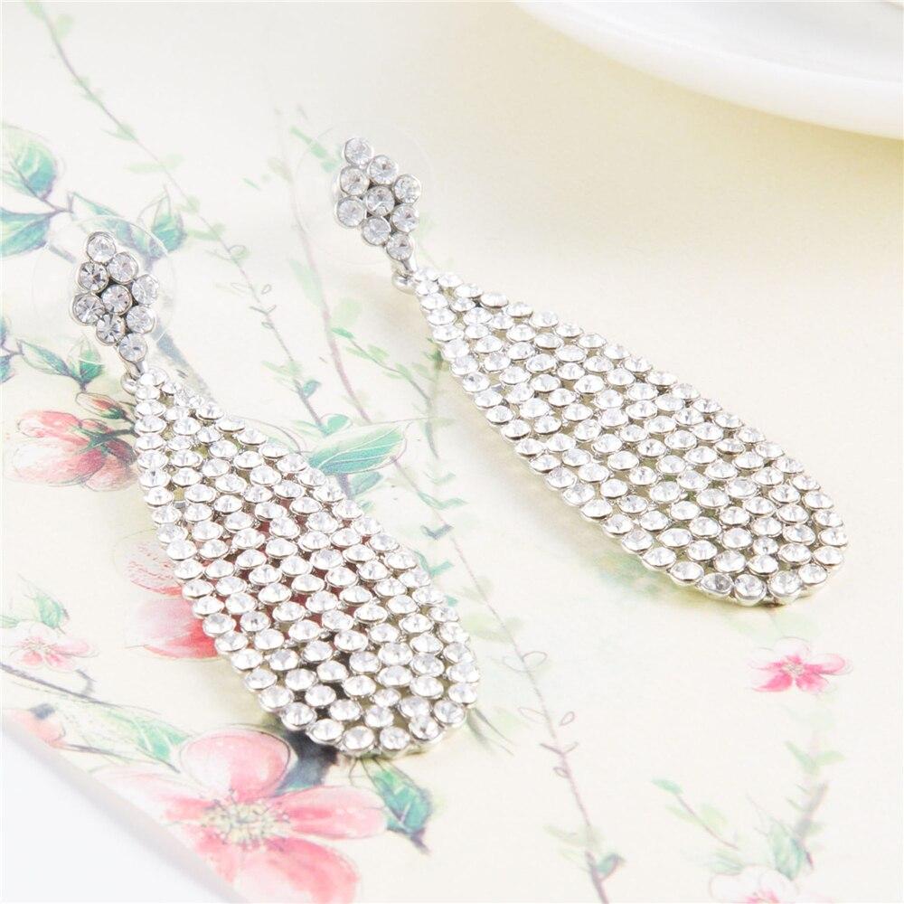 7 cm Tear Drop Bride Earrings Vintage Luxurious Wedding Earrings Crystal Brinco Statement Jewellery Drop Earings Brincos Mujer