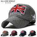 2017 Korean fashion wave of people  in autumn and winter warm hat British Union Jack embroidered woolen cap outdoor baseball cap