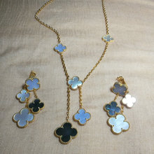 high quality four clover earring and necklace  jewelry set for party or wedding