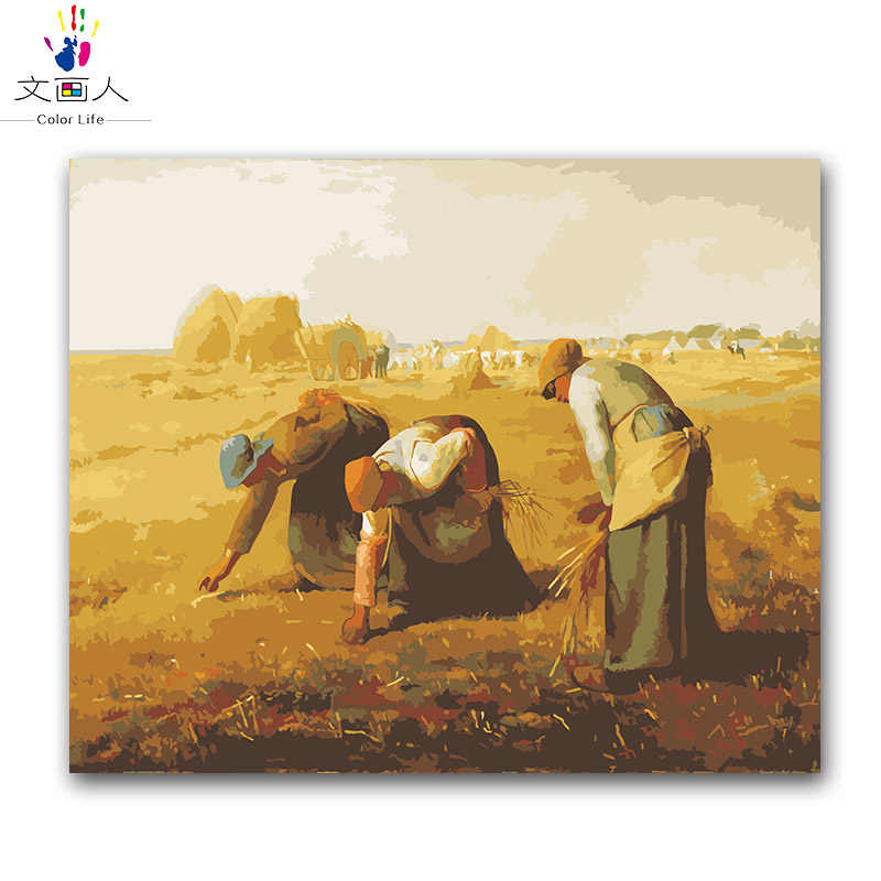 "Figure DIY numbers painting package miller's paintings ""The Gleaners"" picture coloring paint by numbers with kits for hoom"