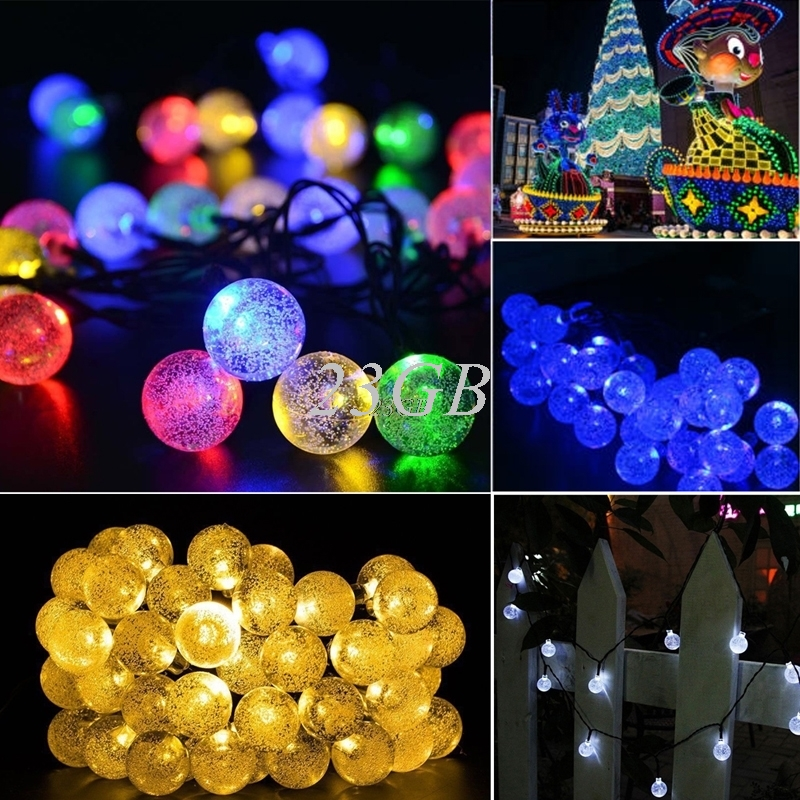 20 LED Ball Solar Powered Outdoor String Christmas Light For Outside Patio Party JUL25_2 ...
