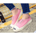 2017 women's spring&summer lace up single canvas cotton made shoes solid lazy student flats big size low