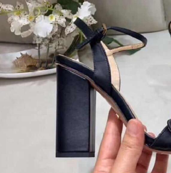 Loney Luxury Brand Black Genuine Leather Chunky Heel Sandals Open Toe Buckle Strap Summer Sandals Shoes Women in Women 39 s Pumps from Shoes