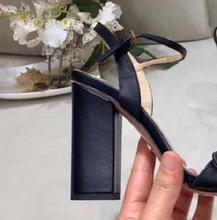 купить Loney Luxury Brand Black Genuine Leather Chunky Heel Sandals Open Toe Buckle Strap Summer Sandals Shoes Women дешево