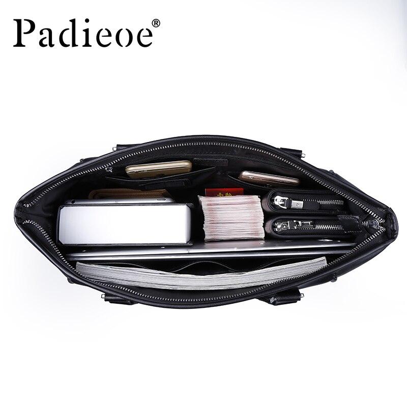 Tasche Laptop Black Kuh Berühmte Aktentasche Mannkurierbeutel Männliche Business Padieoe Echtes tasche Männer Marke Männlichen Tote Leder Taschen Für TOqwdz4