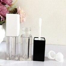 Vuoto 5 ML Lip Gloss Bacchetta Tubi Quadrato Nero Bianco Contenitore Cosmetico Contenitore di Trucco di Imballaggio Lipgloss Contenitori con la Spazzola 120 pz/lotto