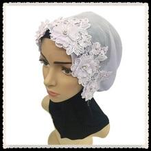 mu138 New style Fashion Muslim convenient Hijab comfortable 3D lace flower beadedcool Islamic Women caps