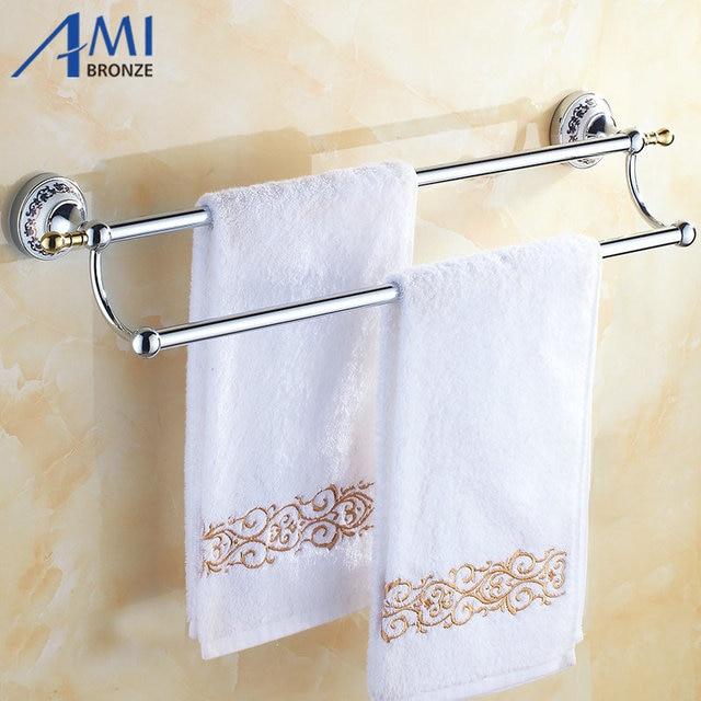 50CM Chrome Polish Porcelain Wall Mounted Bathroom Accessories Towel Bar  Towel Rack With Hook Double Towel