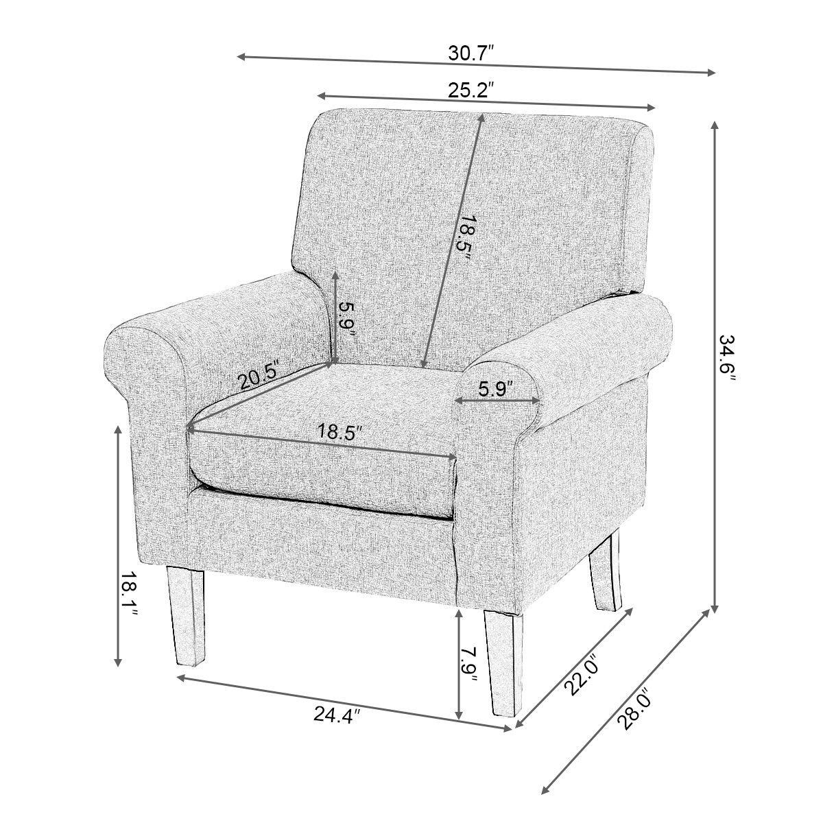 Giantex Fabirc Living Room Chair Modern Gray Accent Arm Chair Ergonomic Upholstered Single Sofa Home Furniture HW56828