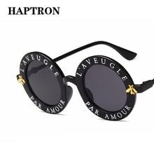 HAPTRON Retro letter Round Sunglasses Men Women Brand Black