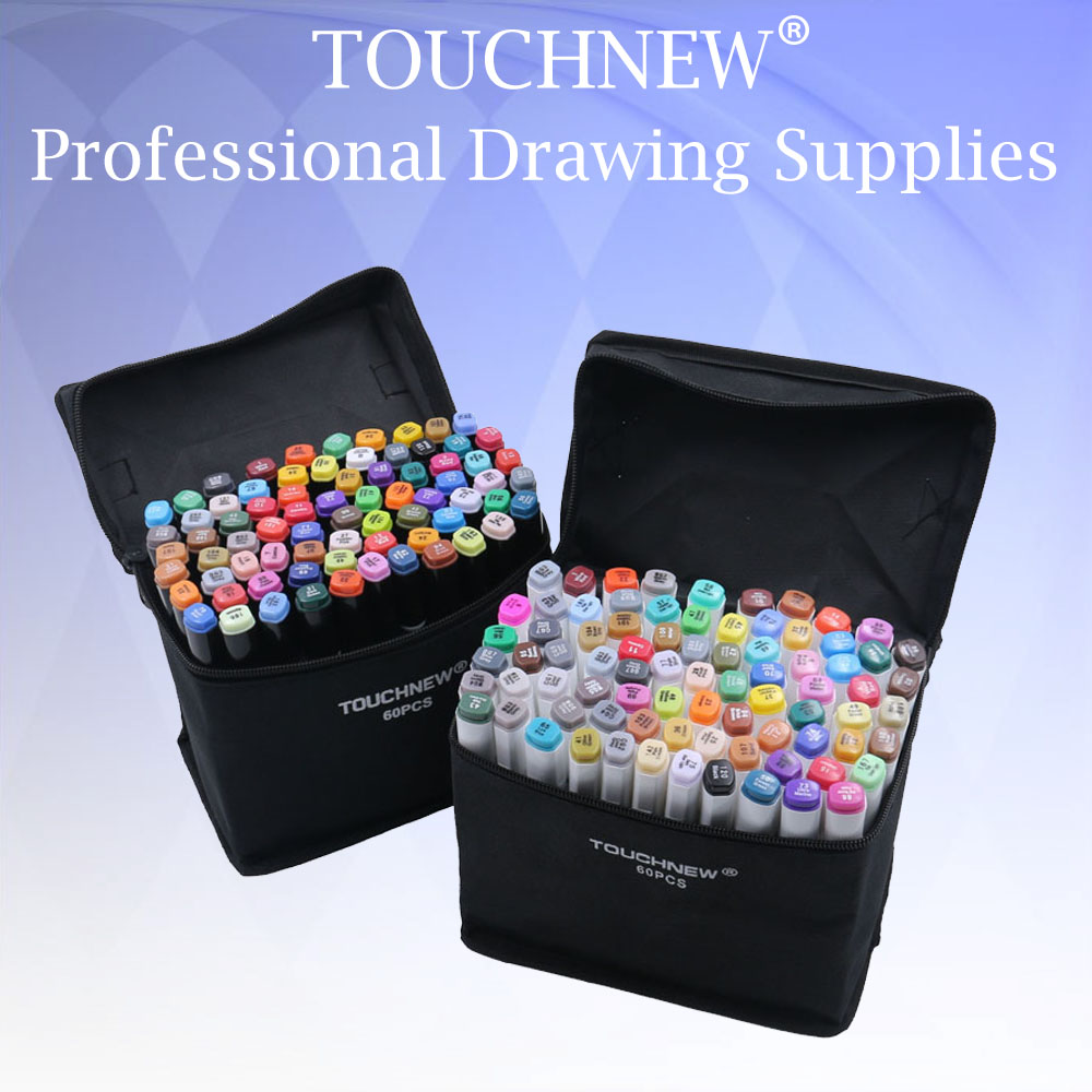 TOUCHNEW 24/30/40/60/80/168 Art Dual Headed Marker Set Animation Manga Design School Ritning Sketch Marker Pen Art Supplies