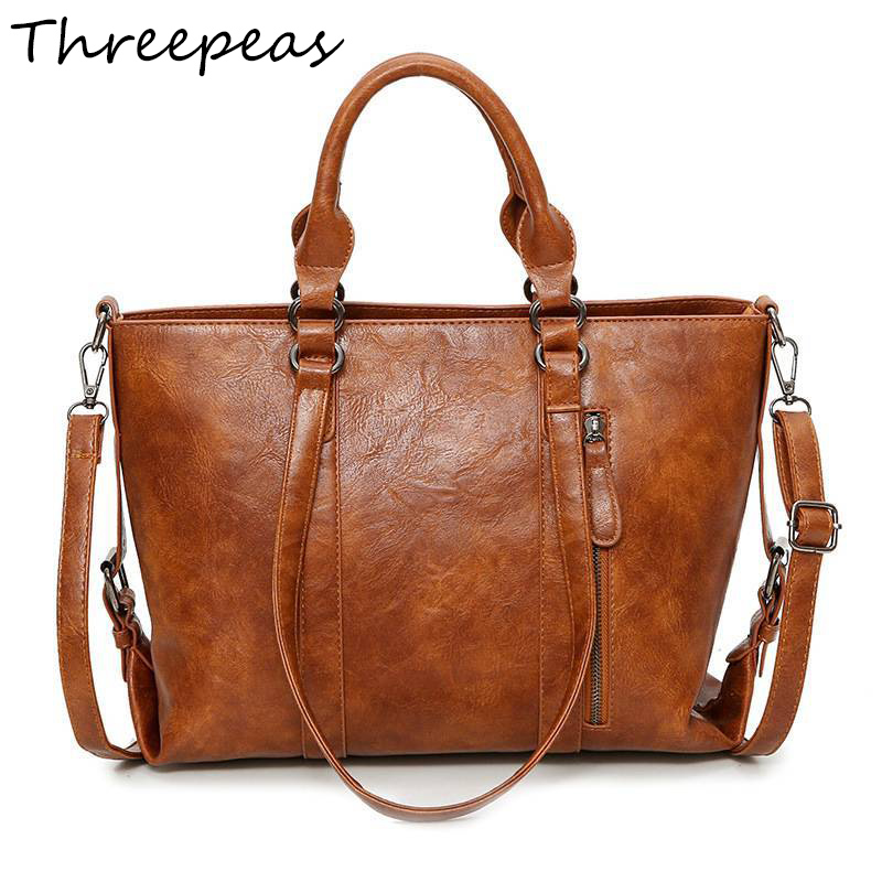 THREEPEAS Ladies Hand Bags PU Leather Women Bag Casual Tote Shoulder Bags New Fashion Luxury Handbags Large Tote Bag сумка через плечо new 2015 fashion women shoulder bags handbags hand bag 2015 vrouwen handtas ombro borse mujer bolso new 2015 fashion women shoulder bags handbags hand bag vc453
