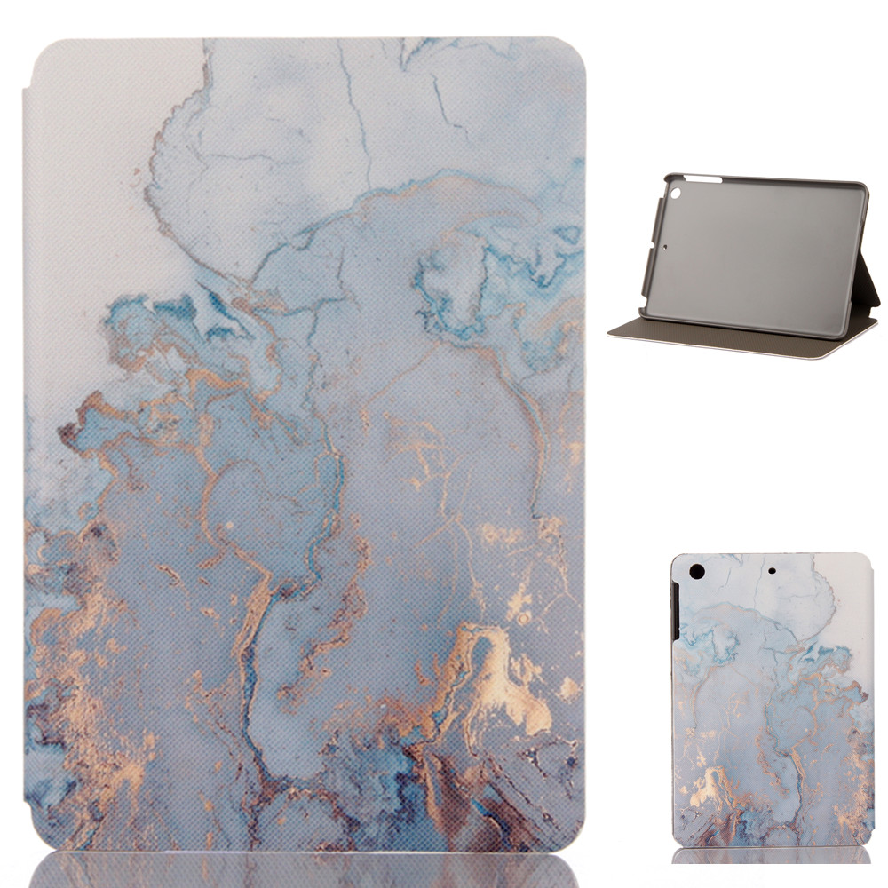 QUWIND Marble Pattern PU and PC Material Support Protective Cover Case For iPad Air 1 2 Mini 123 iPad 234 iPad 2017 2018 9.7inch