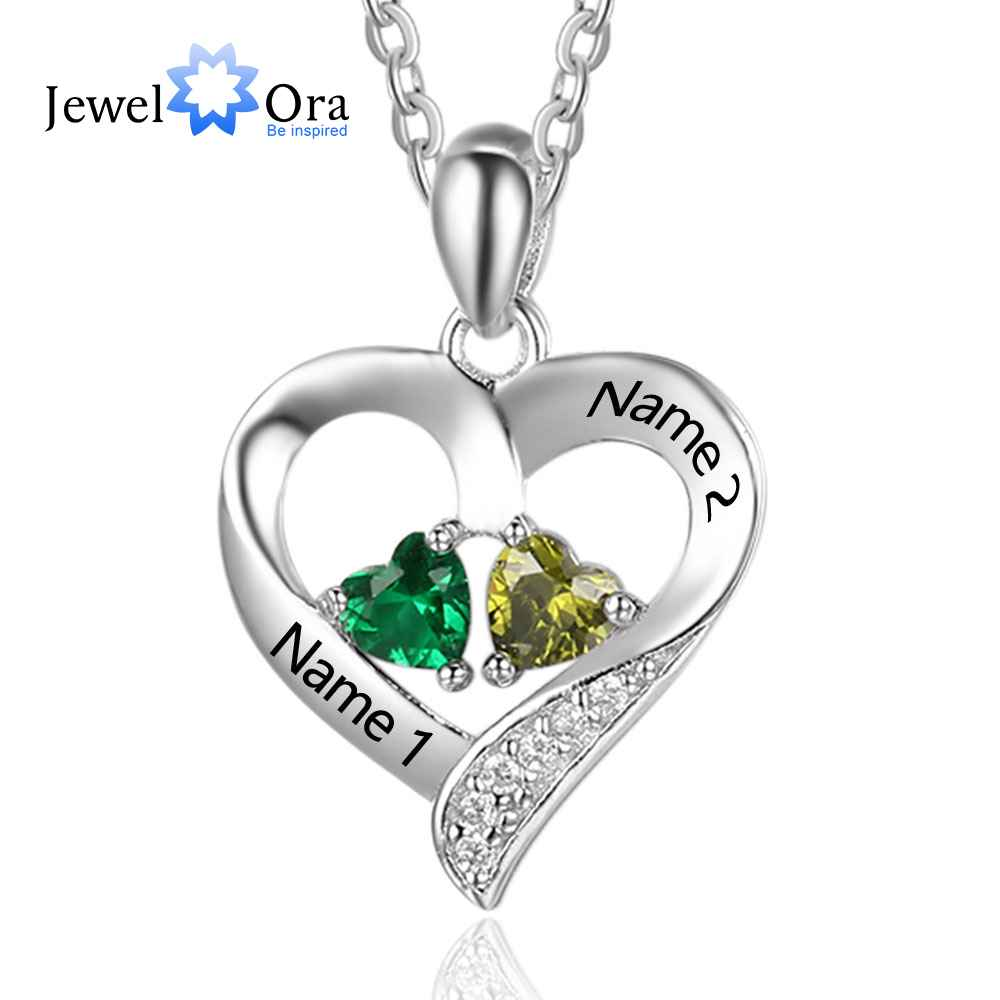 Personalized 925 Sterling Silver 2 Birthstone Necklace Pendants Engraved Heart BirthStones Necklace Mom Gift JewelOra NE101893