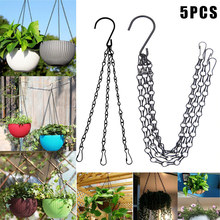 High 5Pcs Flower Pot Hanging Chain Basket Flower Pot 3 Point Garden Plant Hanger with Hooks LG66