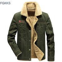 FGKKS Winter Military Men Jacket Men Casual Bomber Solid Color Jackets Slim Fit Coat Men's Fashion Brand Jackets