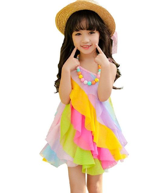 Kinder 2019 Sommer Mädchen Kleid Prinzessin Kleid Tragetuch Strandkleid Regenbogen 3-10 Jahre Baby Mädchen Kleidung