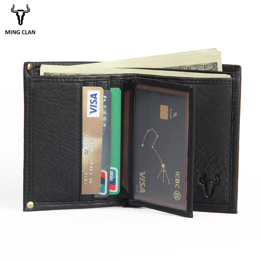 цена на Mingclan RFID Blocking Bifold Slim Genuine Leather Thin Wallets for Men Purse ID/Credit Card Holder Fashion New Short Wallet