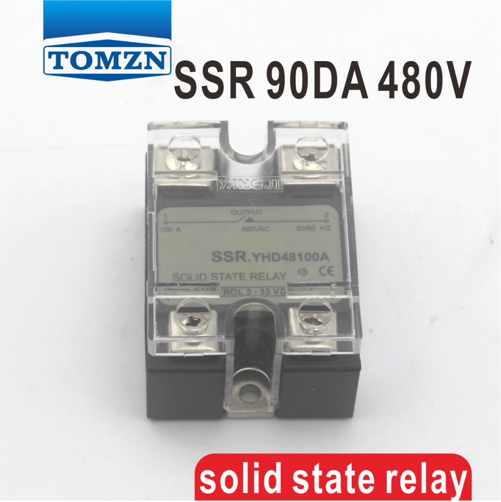 90DA SSR Control 3-32V DC output 24~480VAC High voltage single phase AC solid state relay dc ac single phase ssr solid state relay 120a 3 32v dc 24 480v ac