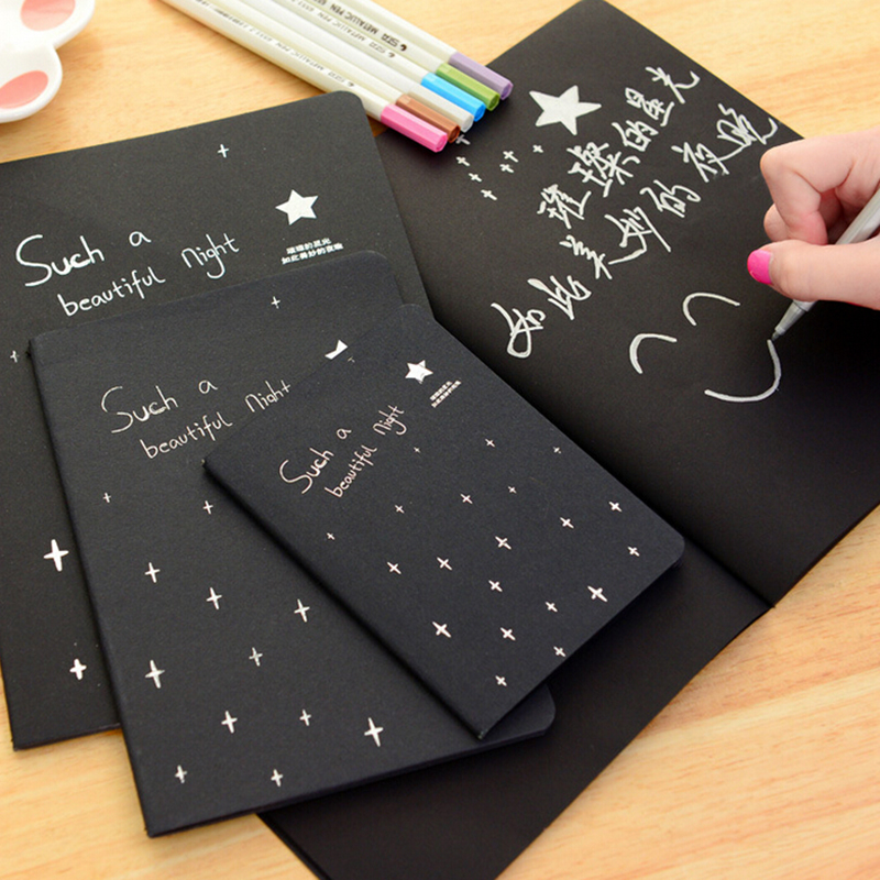 Office & School Supplies Kraftvoll 28 Blätter Notebook Tagebuch Schwarz Papier Notizblock Skizze Graffiti Notebook Für Zeichnung Malerei Büro Schule Schreibwaren Geschenke Aromatischer Charakter Und Angenehmer Geschmack
