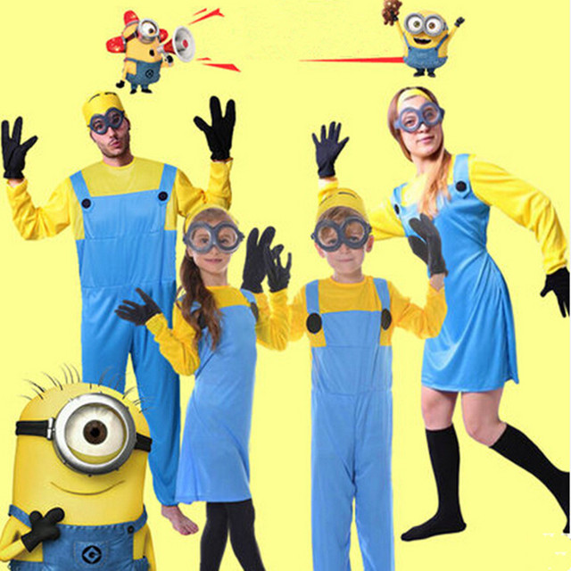 2016 halloween minions costume for kids men women minions cosplay Boy Girl performance clothing set costume+glasses+gloves+hat