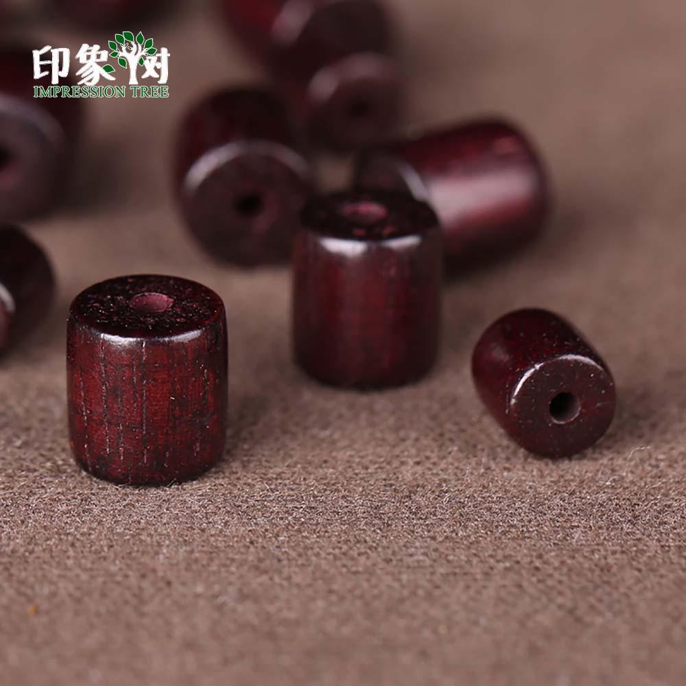 Buddhist Wood Loose Beads 6X6mm/8x8mm Natural Red Sandalwood Prayer Mala Cylinder Barrel Wood Bead Smooth Spacer Bead 200(China)