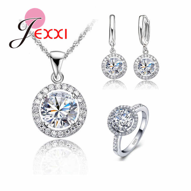 Exquisite Vrouwen Bruiloft Ketting Earring Ring Sieraden Set 925 Sterling Silver Anniversary Gift Zirkoon Crystal