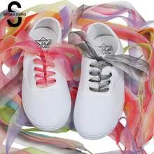 Senza Fretta 1 Pair Chiffon Donne Gradiente Nastro Lacci per le scarpe  Lacci Delle Scarpe 120 cm Lungo Stringhe Lacci delle Scar. 151f07deb60