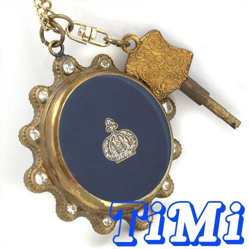 wholesale Blue Gemstone Copper Unisex Pocket Watch Necklace Key