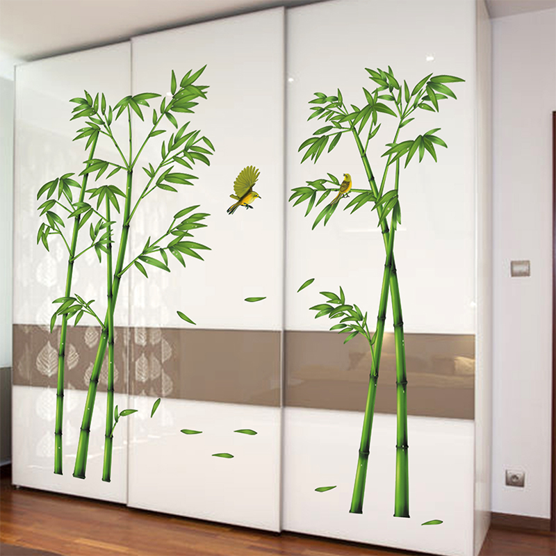 Chinese Classic Fresh Green Bamboo Wall Stickers Birds Plant Sticker Home Wall  Decals DIY Vinilos Decorativos 2Pcs/Lot WT024 In Wall Stickers From Home ...
