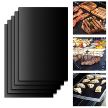 4YANG 5pcs/Set Reusable BBQ Grill Mat Pad Sheet Hot Plate Portable Outdoor Nonstick Bakeware Cooking Tool BBQ Accessories