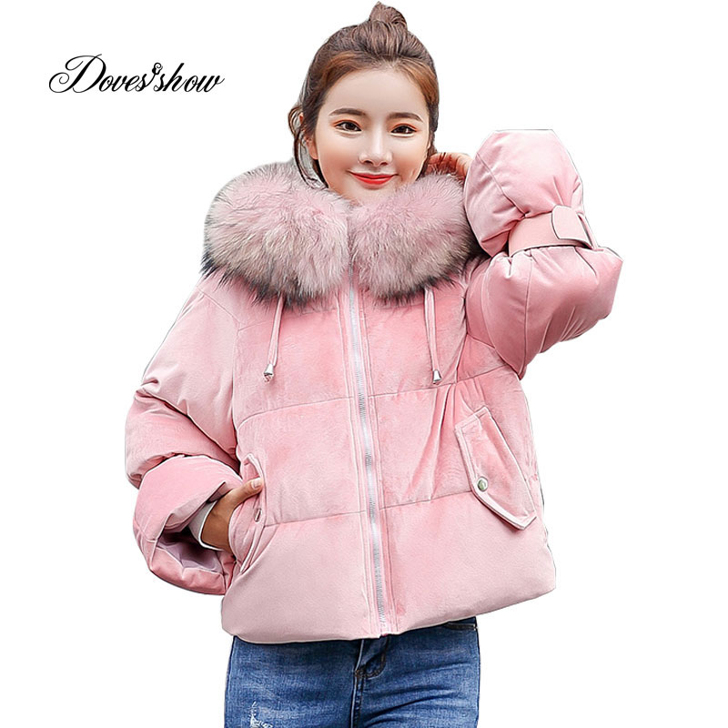 Hooded Fur Collar Velour Winter   Down     Coat   Jacket Short Thick Warm Slim Women Casaco Feminino Abrigos Mujer Invierno 2018 Parkas