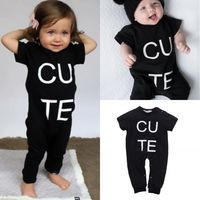 Letter CUTE Newborn Kids   Baby     Rompers   Boys Girls short sleeve   Romper   Jumpsuit Playsuit Outfits Clothes 0-3Y