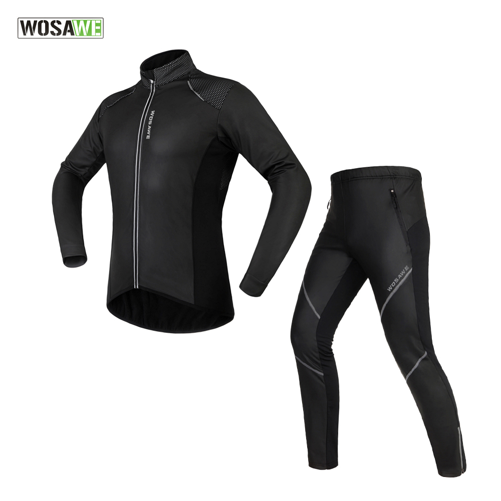 ФОТО WOSAWE Winter Cycling Jacket Sets Waterproof Windproof Long Sleeve Bike Riding Coat Pants Suits Men Women Bicycle Clothing