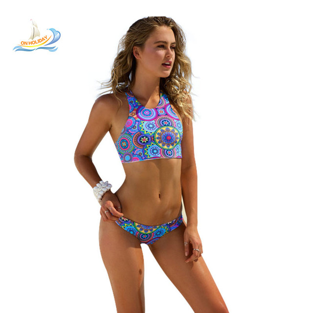 55f8e6ddaa854 Crop Top Women Printing Bikini High Waist Swimsuit High Neck Circle Sport  Suit Swimwear Blue Floral Print Bathing Suit Brazil