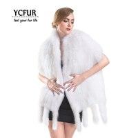 [YCFUR] Модные женские туфли шарфы палантины зимние вязаные White Fox меховые шарфы платки Для женщин Мягкий теплый Ленточки шарф дамы