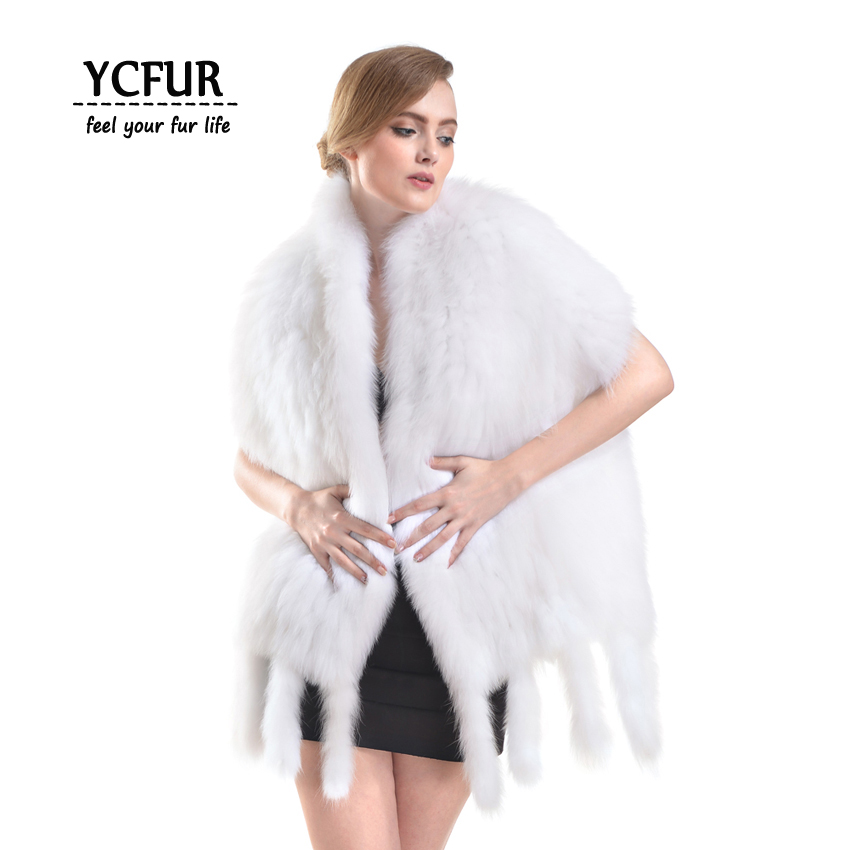 [YCFUR] Fashion Women   Scarves     Wraps   Winter Knit White Fox Fur   Scarves   Shawls Women Soft Warm Tassels   Scarf   Ladies