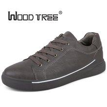 WOODTREE 남성용 가죽 캐주얼 신발 클래식 패션 남성 레이스 플랫 화이트 블랙 남성 Krasovki Flat Heel Sneakers