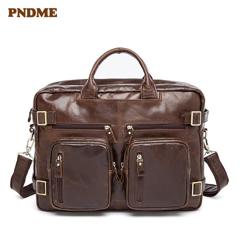 PNDME Multi Function Genuine Leather Men's Briefcase Retro Multi Pocket Soft Cowhide Messenger Bags Large Capacity Laptop Bag