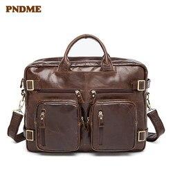 PNDME multi function genuine leather mens briefcase retro multi pocket soft cowhide messenger bags large capacity laptop bag