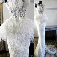 Vintage Lace Feather Mermaid Evening Dresses 2018 Saudi Arabic Long Prom Gowns Pearls On Waist Formal Party Dress Custom Made