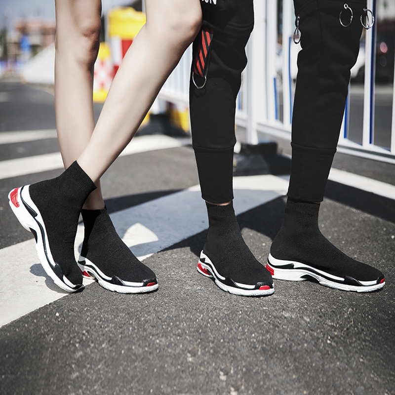 f07692126accd US $18.63 52% OFF 2018 Black Comfortable Mens Walking Shoes Breathable  Women Sneakers Unisex Couple Shoes Socks Shoes Perfect High Top Sport  Boots-in ...