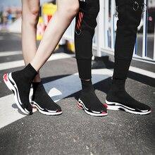 new concept b6ce1 d22af 2018 negro cómodo hombre zapatos para caminar transpirables mujeres  zapatillas Unisex par zapatos calcetines Zapatos perfecto