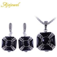 цена на Ajojewel Geometric Earrings Necklace Black Jewelry Sets For Women High Quality Rhinestone Set Jewellery